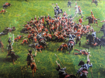 A square being overrun by French cavalry-Postcard